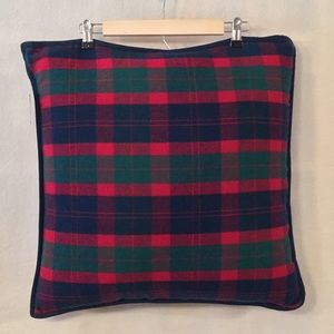 NWOT LRL red green plaid wool blend square pillow